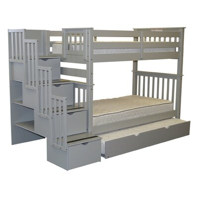 Stairway Tall Twin Over Twin Bunk Bed with Trundle Bed Frame Color: Gray