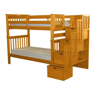 Stairway Tall Twin over Twin Bunk Bed with Storage Bed Frame Color: Honey