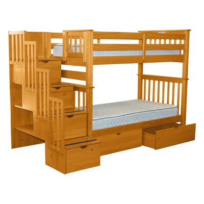 Stairway Tall Twin Over Twin Bunk Bed with Extra Storage Bed Frame Color: Honey
