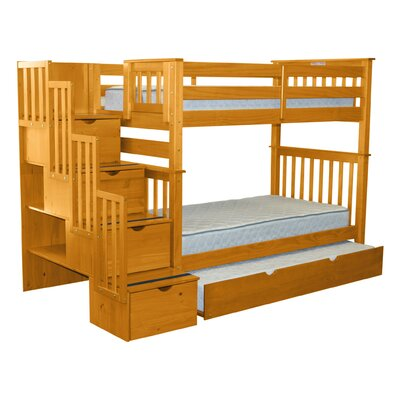Stairway Tall Twin Over Twin Bunk Bed with Trundle Bed Frame Color: Honey