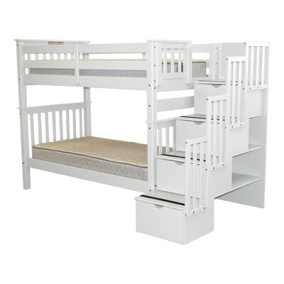 Stairway Tall Twin over Twin Bunk Bed with Storage Bed Frame Color: White