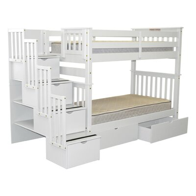 Stairway Tall Twin Over Twin Bunk Bed with Extra Storage Bed Frame Color: White