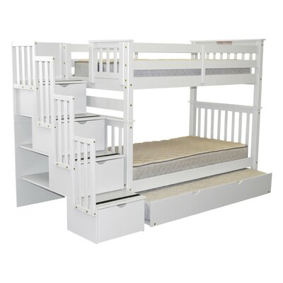 Stairway Tall Twin Over Twin Bunk Bed with Trundle Finish: White