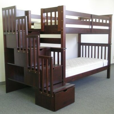 Twin over Twin Bunk Bed with Storage Finish: Cappuccino