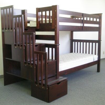 Stairway Tall Twin Over Twin Bunk Bed with Storage Finish: Cappuccino