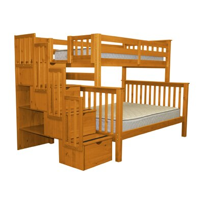 Stairway Twin over Full Bunk Bed with Storage Color: Honey