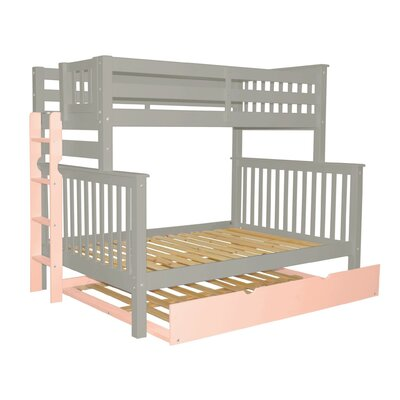 Mission Twin over Full Bunk Bed with Full Trundle Bed Frame Color: Gray/Pink
