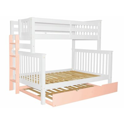 Mission Twin over Full Bunk Bed with Full Trundle Bed Frame Color: White/Pink
