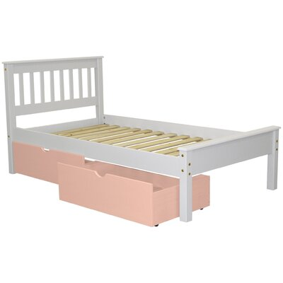 Mission Twin Slat Bed with Storage Bed Frame Color: White/Pink