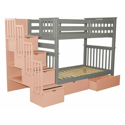 Stairway Tall Twin Over Twin Bunk Bed with Extra Storage Bed Frame Color: Gray/Pink