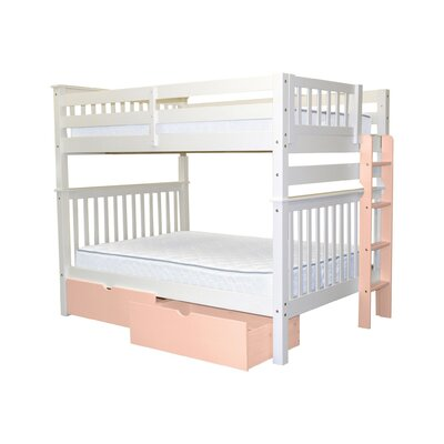 Mission Full over Full Bunk Bed with Storage Bed Frame Color: White/Pink