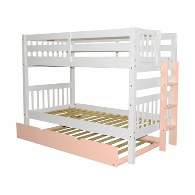 Mission Twin over Twin Bunk Bed with Trundle Bed Frame Color: White/Pink