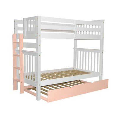 Mission Tall Twin over Twin Bunk Bed with Trundle Bed Frame Color: White/Pink