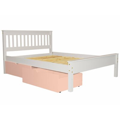 Mission Full Slat Bed with Storage Bed Frame Color: White/Pink