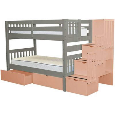 Stairway Twin Over Twin Bunk Bed With Extra Storage