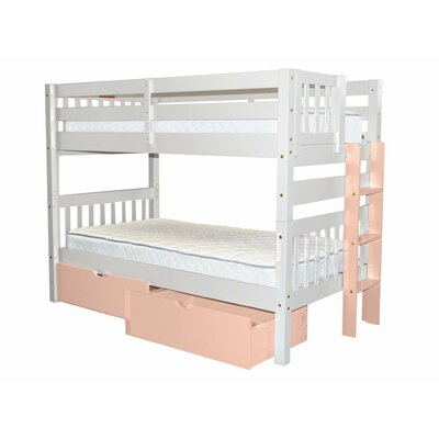 Mission Twin over Twin Bunk Bed with Storage Bed Frame Color: White/Pink