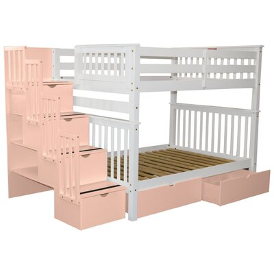Stairway Full over Full Bunk Bed with Extra Storage Bed Frame Color: White/Pink