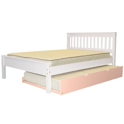 Mission Full Slat Bed with Trundle Bed Frame Color: White/Pink