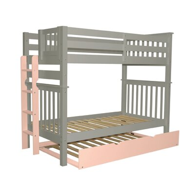 Mission Tall Twin over Twin Bunk Bed with Trundle Bed Frame Color: Gray/Pink