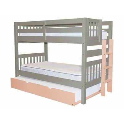 Mission Twin over Twin Bunk Bed with Trundle Bed Frame Color: Gray/Pink