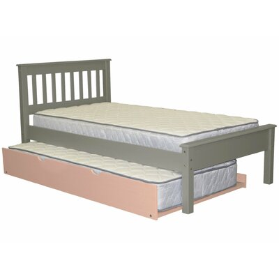 Mission Twin Slat Bed with Trundle Bed Frame Color: Gray/Pink