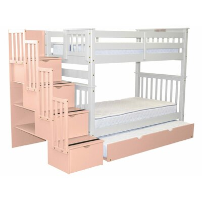 Stairway Tall Twin Over Twin Bunk Bed with Trundle Bed Frame Color: White/Pink