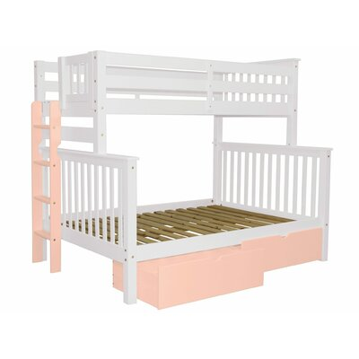 Mission Twin over Full Bunk Bed with Storage Bed Frame Color: White/Pink