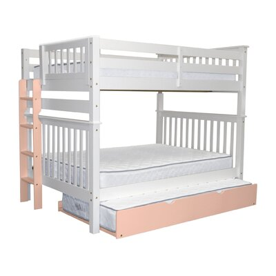 Mission Full over Full Bunk Bed with Trundle Bed Frame Color: White/Pink