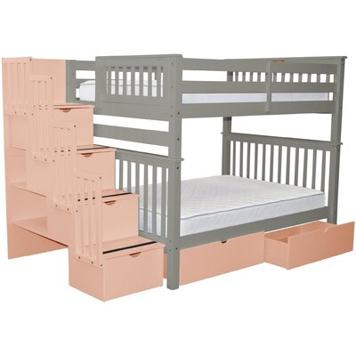 Stairway Full over Full Bunk Bed with Extra Storage Bed Frame Color: Gray/Pink