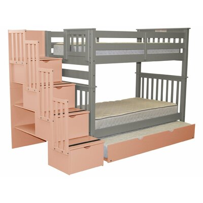 Stairway Tall Twin Over Twin Bunk Bed with Trundle Bed Frame Color: Gray/Pink