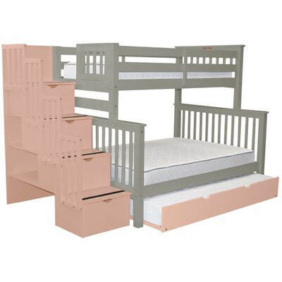 Stairway Twin over Full Bunk Bed with Full Trundle Bed Frame Color: Gray/Pink