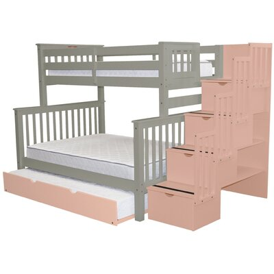 Stairway Twin over Full Bunk Bed with Trundle Bed Frame Color: Gray/Pink