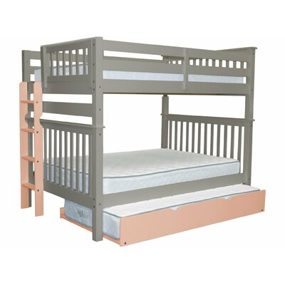 Mission Full over Full Bunk Bed with Trundle Bed Frame Color: Gray/Pink