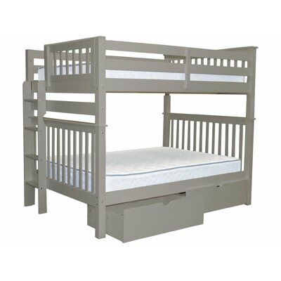 Mission Full over Full Bunk Bed with Storage Bed Frame Color: Gray