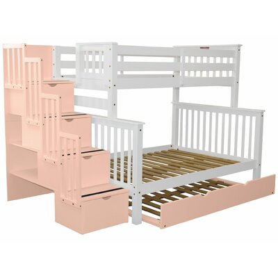 Stairway Twin over Full Bunk Bed with Full Trundle Bed Frame Color: White/Pink