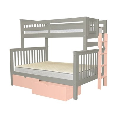 Mission Twin over Full Bunk Bed with Storage Bed Frame Color: Gray/Pink