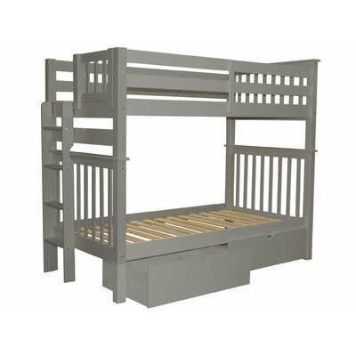Mission Tall Twin Over Twin Bunk Bed with Storage Bed Frame Color: Gray