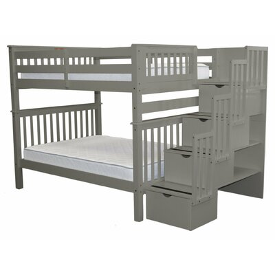 Stairway Full over Full Bunk Bed with Storage Bed Frame Color: Gray