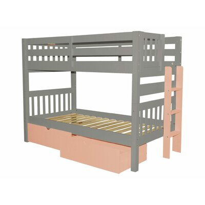 Mission Twin over Twin Bunk Bed with Storage Bed Frame Color: Gray/Pink