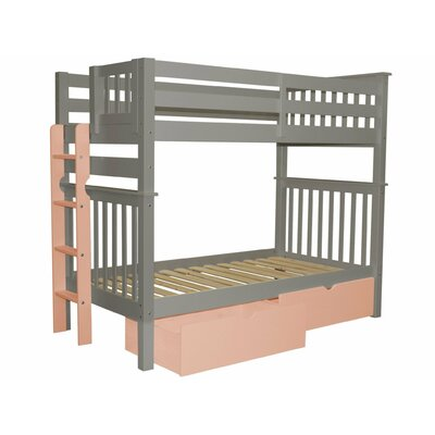 Mission Tall Twin Over Twin Bunk Bed with Storage Bed Frame Color: Gray/Pink