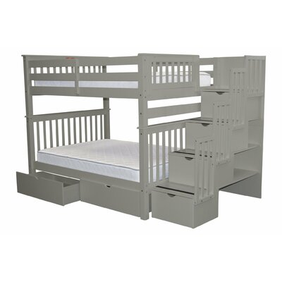Stairway Full over Full Bunk Bed with Extra Storage Bed Frame Color: Gray