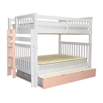 Mission Full over Full Bunk Bed with Full Trundle Bed Frame Color: White/Pink