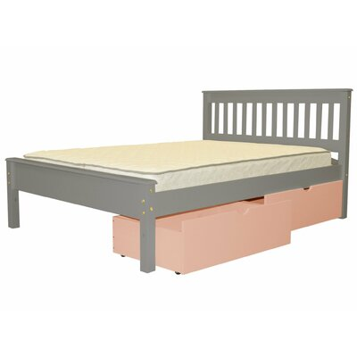 Mission Full Slat Bed with Storage Bed Frame Color: Gray/Pink