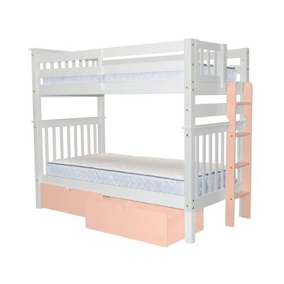 Mission Tall Twin Over Twin Bunk Bed with Storage Bed Frame Color: White/Pink