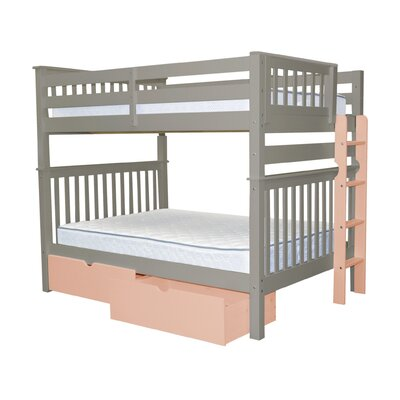 Mission Full over Full Bunk Bed with Storage Bed Frame Color: Gray/Pink
