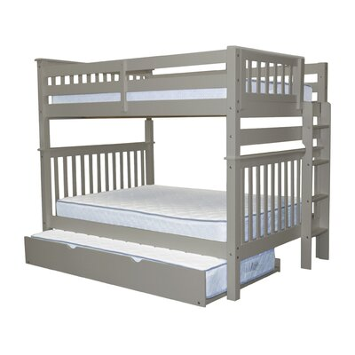 Mission Full over Full Bunk Bed with Trundle Bed Frame Color: Gray