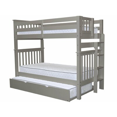 Mission Tall Twin over Twin Bunk Bed with Trundle Bed Frame Color: Gray
