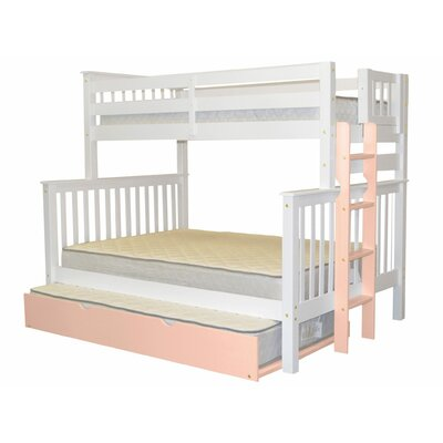 Mission Twin over Full Bunk Bed with Trundle Bed Frame Color: White/Pink