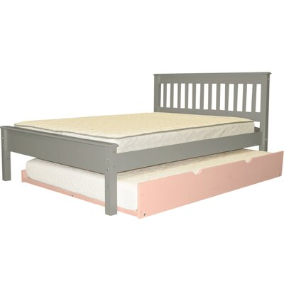 Mission Full Slat Bed with Full Trundle Bed Frame Color: Gray/Pink