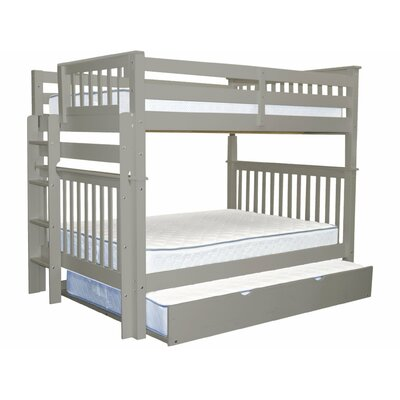 Mission Full over Full Bunk Bed with Full Trundle Bed Frame Color: Gray